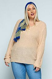 Plus V-neck Pullover W/Multi Color Buttons