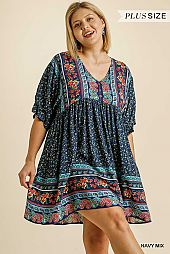 Paisley Button Front Half Sleeve Babydoll Dress