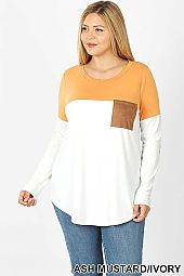 COLOR BLOCK SUEDE POCKET DETAIL TOP