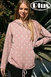 POLKA DOT FRONT POCKET HOODIE SWEATSHIRT PLUS TOP