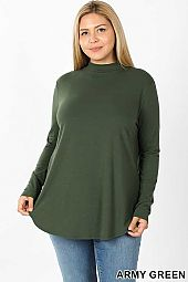PLUS PREMIUM LONG SLEEVE MOCK NECK ROUND HEM TOP