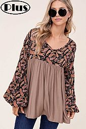 SOLID PAISLEY WOVEN MIX V NECK BABY DOLL PLUS TOP