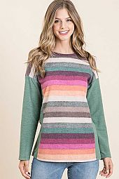 MULTI STRIPE BRUSHED WITH SOLID CONTRAST TOP