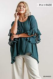 Sheer Round Neck 3/4 Ruffled Sleeve Tunic