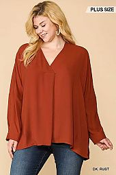 Pleated Detail V-Neck Hi-Lo Hem Tunic Top