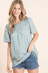 GINGHAM FRONT SMOCKING SHORT SLEEVE TOP