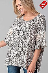 ANIMAL PRINT  SLEEVE LACE COMBO TOP PLUS