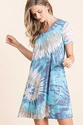 TIE DYE PRINT SLUB JERSEY V NECK MINI DRESS
