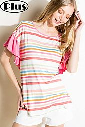 MULTI STRIPE SOLID MIX RUFFLE SHORT SL PLUS TOP