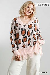 Animal Print V-Neck Distressed Trim Detail Pullover Sweater