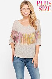 Plus size Tie dye v neck knit short sleeve top