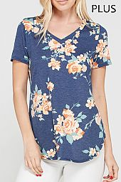 PLUS FLORAL V NECK TOP