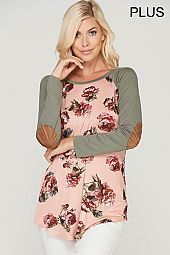 PLUS ELBOW PATCH FLORAL JERSEY TOP
