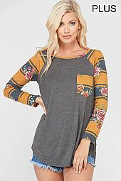 PLUS FLORAL AND STRIPE TRIM JERSEY TOP