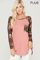 PLUS FLORAL TRIM SOLID JERSEY TOP