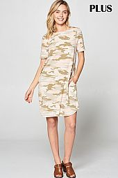 PLUS CRISSCROSS BAND ACCENT CAMOUFLAGE DRESS