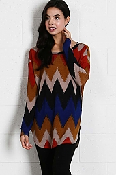 MULTI COLOR CHEVRON PRINT TUNIC