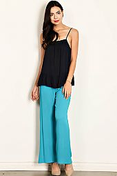 SLIGHTLY CRINKLED FABRIC WOVEN PALAZZO PANTS
