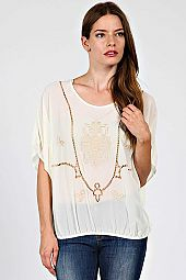 BAROQUE SHEER CAPE TOP