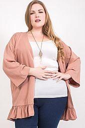 PLUS RUFFLE HEM SOLID CARDIGAN