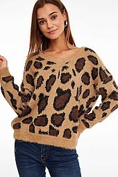 *PRE-ORDER* LEOPARD PRINT N NECK FUZZY SWEATER TOP