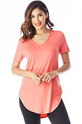 SOLID KNIT V-NECK CIRCLE HEM TUNIC TEE