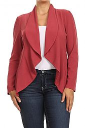PLUS DRAPING COLLAR BLAZER JACKET