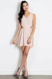 LACE TRIM SURPLICE CUTOUT DRESS
