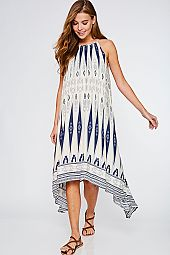 ASYMMETRICAL HEM BOHEMIAN PRINT DRESS