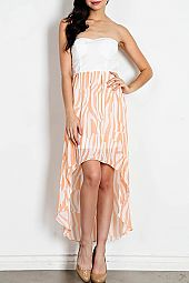 STRIPE PRINT FLORAL LACE HIGH-LOW DRESS