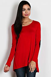 ELBOW PATCH TRIMMED ROUND NECK TOP