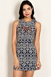 GANADO EMBROIDERED CUTOUT BACK KNIT DRESS