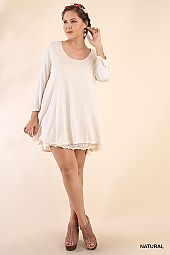 PLUS LACE TRIM FLARING TOP