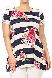 PLUS FLORAL WIDE STRIPE PRINT TOP
