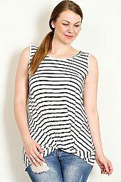 TWIST FRONT STRIPE JERSEY SLEEVELESS TOP