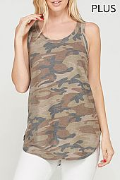 PLUS CAMOUFLAGE RACER BACK TANK TOP