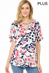PLUS FLOWER BUDS PRINT TOP