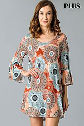 PLUS MEDALLION PRINT FLARING DRESS
