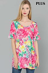 PLUS TIE DYE PRINT RUFFLE SLEEVE TOP