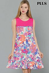 PLUS COLORFUL FLORAL PRINT SLEEVELESS DRESS