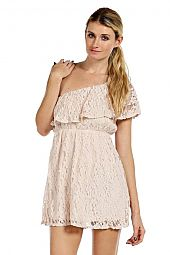 RUFFLE LACE ONE SHOULDER DRESS