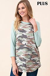 PLUS SOLID SLEEVES CAMOUFLAGE JERSEY TOP