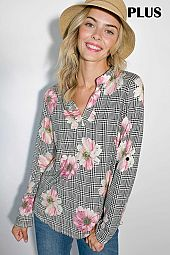 PLUS PLAID AND FLORAL PRINT SPLIT NECK BLOUSE