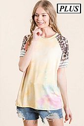 PLUS TIE DYE CHEETAH PRINT TOP